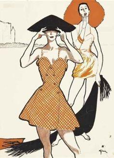 Illustration by René Gruau, ca 1950, On the beach, gouache on paper.