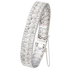 French Art Deco Diamond and Platinum Filigree Line Bracelet   From a unique collection of vintage more bracelets at http://www.1stdibs.com/jewelry/bracelets/more-bracelets/