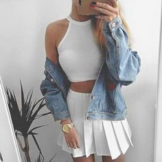 white crop top, white skirt, denim jacket