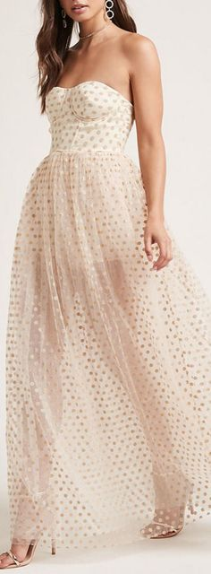 gold dot maxi dress