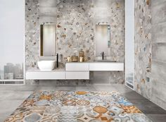 Patterned bathroom decor.