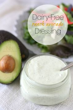 Dairy Free Avocado Ranch Dressing by Nutmeg Nanny. Using unsweetened almond milk. Dairy Free Avocado Ranch Dressing by Nutmeg Nanny. Using unsweetened almond milk. Avocado Ranch Dressing, Ranch Dressing Recipe, Salad Dressing Recipes, Salad Dressings, Dairy Free Salads, Dairy Free Diet, Lactose Free, Dairy Free Recipes, Gluten Free