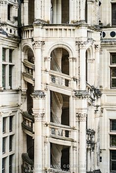An outside view of the famous Helix staircase at the Chateau de Chambord in the Loire Valley, a castle dating back to the 16th century.