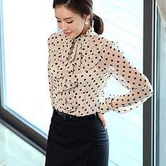 Women's Polka Dots Shirt with Ruffles – USD $ 17.99