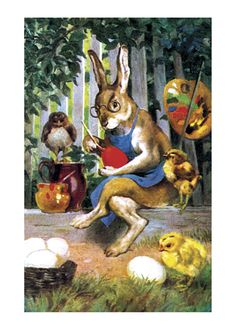 postcard Easter dressed rabbit paints eggs in back yard as chicks watch Vintage Cards, Vintage Postcards, Egg Card, Easter Greeting Cards, Old Cards, Rabbit Art, Easter Art, Holiday Postcards, Vintage Easter
