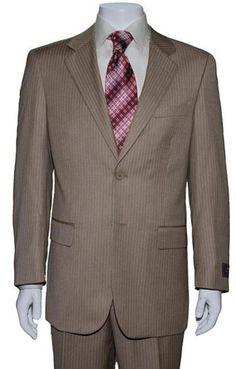 Tan Pinstripe Suit