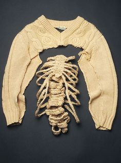 sweaterspine conceptual knitted textile art from repurposed aran jumper contemporary knit