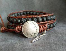 Mens Lava Bracelet, Native American Indian Bracelet, Lava Bead Bracelet, Mens Bracelet, Native American Inspired Bracelet, Gift for Men by KarenMSmithDesigns on Etsy