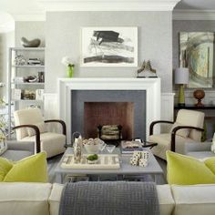 gray and green contemporary decor living room You had me at Gray! Just Decorate Blog