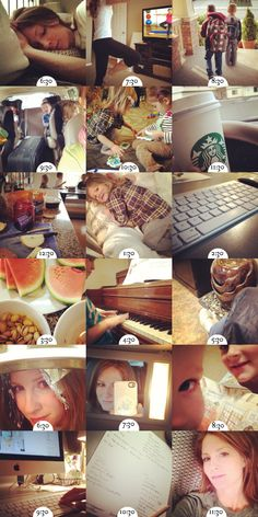 """""""On the Hour""""  - Emily used her timer to remind herself to snap a photo on her phone every hour. Love this idea"""