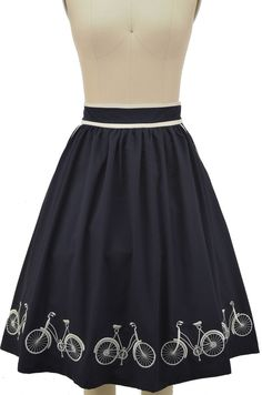commuter cutie bicycle embroidered full midi skirt - navy & ivory