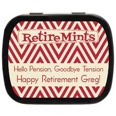 Wavy Personalized Retirement Mint Tins, Hello Pension Goodbye Tension #retirement #partyfavors