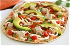 Hungry Girl recipe for guilt-free Chicken Flatbread. Pin and make today!