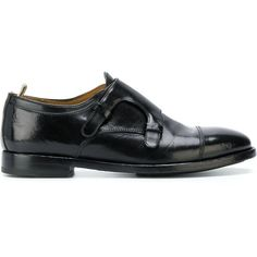 Officine Creative Sandie double-monk shoes (660 CAD) ❤ liked on Polyvore featuring shoes, black, leather sole shoes, handcrafted shoes, leather shoes, double monk shoes and black shoes