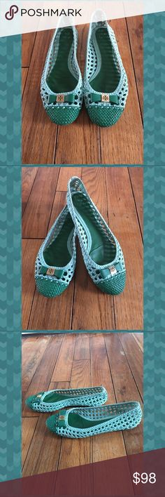 Tory Burch Ballet Flats Woven multi green color ballet flats by Tory Burch. Gently used - great condition! Tiny scuff to the bottom back of one shoe. Tory Burch Shoes Flats & Loafers