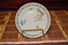 "Asian Porcelain Small Plate w/ Floral & Butterflies Decorative Rim 4 7/8""  #Unknown"