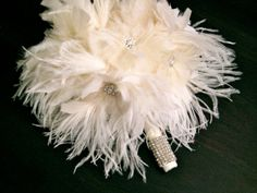 Ivory ostrich feather bridal bouquet