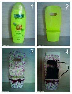 DIY: Turn an empty shampoo bottle into a cell phone holder while charging. Plastic Bottle Crafts, Plastic Bottles, Fun Crafts, Diy And Crafts, Craft Projects, Projects To Try, Shampoo Bottles, Cell Phone Holder, Ipod Holder