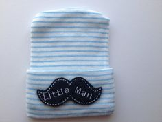 Newborn Hospital Hat for Boys Little Man (infant hat, newobrn hat, newborn boy hat, infant beanie, mustache)