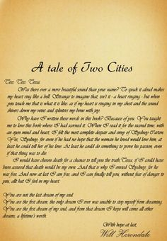 TID | A Tale of Two Cities inscription from Will Herondale