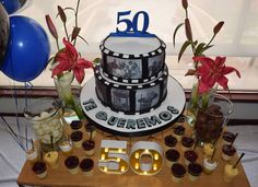 """18 Me gusta, 0 comentarios - Maria del Pilar Núñez Vega (@poshdecobox) en Instagram: """"Los 50 de Henry! Diseño @poshdecobox Shotcake @gracia_tortas_y_postres Fotografía @wsayala . . . .…"""" Baby Shower, Cake, Desserts, Instagram, Food, Food Cakes, Deserts, Serif, Events"""