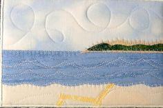 Fabric Postcard Art Quilt-Beach Landscape Mini Applique Art Quilt.