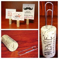 Very cool way to reuse corks for place cards or picture holders