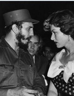 Maureen O'Hara looks down at Fidel Castro