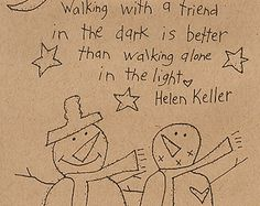 Primitive Stitchery Pattern Folk Art  Walking With A Friend Snowmen