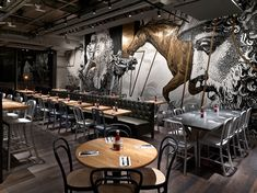 beef & liberty restaurant in hong kong features wall art by cyrcle