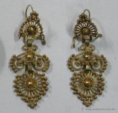 Preciosos pendientes y broche de plata dorada, para traje regional gallego. Los pendientes miden 6,5 - Foto 3