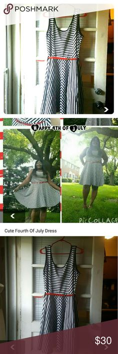 Cute Fourth Of July Dress. Just fav Blue and white with red belt JustFab Dresses Midi