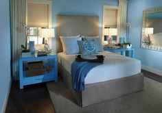 blue master bedroom | Master bedroom of the 2009 HGTV Green Home.