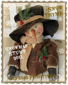 Primitive Snowman Pattern Snow Thyme Snowman Stump Doll