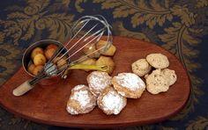 Piccolo Lago, Verbania, chef Marco Sacco.  Amaretti; brutti ma buoni; biscotto al miele di Rododendro; ciliegie alla grappa di Nebbiolo