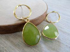 Apple green glass dangle earrings on gold post by SeptemberWillow