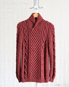 Get free knitting pattern of stylish & luxury Shawl Collar Cable Pullover. Sizes: 48 and 52 inch chest measurements, suit both men & women. – Page 2 of 2 Knitting Pullover, Jumper Knitting Pattern, Jumper Patterns, Shawl Collar Sweater, Men Sweater, Knit Sweaters, Winter Sweaters, Free Knitting Patterns For Women, Knitting Tutorials