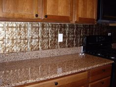 Beau Kitchen Backsplash Examples | 18 Photos Of The How To Apply Faux Tin  Backsplash For Kitchen