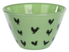 Green McKee bowl with roosters.