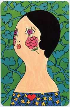 ROSY CHEEKS. unused oversize postcard, published by faroy, inc., houston, texas, 1969