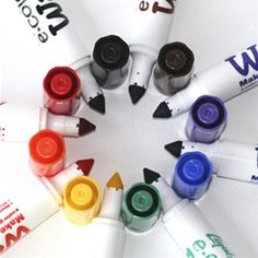 Washable Markers, via stubbypencilstudio.com. Non-toxic washable markers made in the USA from 25% recycled plastic.