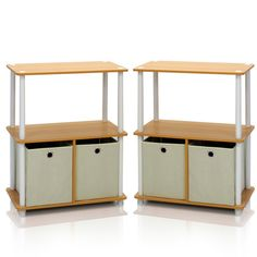 Furinno® 99152 Go Green 3-Tier 2-Bin Multipurpose Storage Bookshelf (2, Beech/White/Ivory) -- Check this awesome image  (This is an amazon affiliate link. I may earn commission from it)
