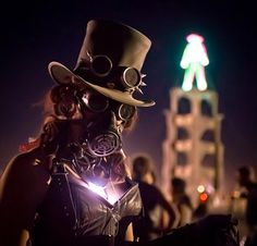 A ranger stands guard in front of the #BurningMan tower during a sandstorm on the evening of the burn. From Trey Ratcliff at http://www.StuckInCustoms.com - all images Creative Commons Noncommercial