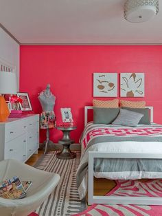 Cool whites with an accent wall in bright Eros Pink SW 6860 make a sweet-as-candy combination for this teen girl's bedroom.