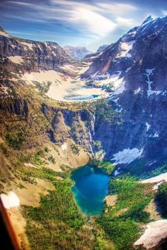 This is an Ariel view of the lake/waterfall we hiked to in Glacier National Park, Montana