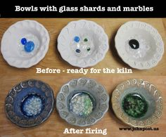 Before and after pictures of our ceramic bowl with glass marbles project...entire site has great ideas.
