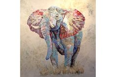 Bull elephant - Sophie Standing Art | Sophie Standing Art | Textile embroidery art from Africa