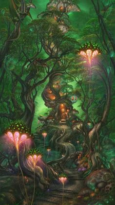 Fantasy Forest, Forest Art, Magical Forest, Dark Forest, Fantasy Village, Forest Drawing, Dream Fantasy, Fantasy City, Forest Painting