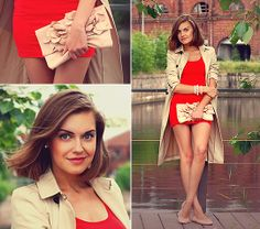 Aston Rimell Clutch, H&M Little Red Dress, Zara Trench, H&M Ballerina Pumps