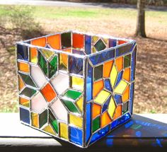 olor Bright Stained Glass Candle Holder
